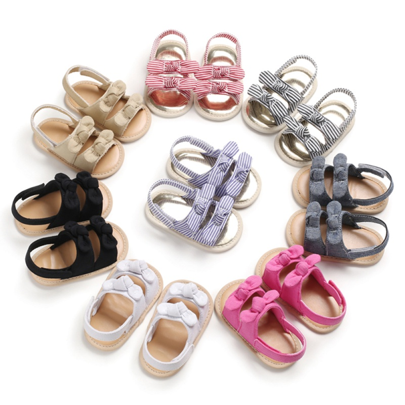 Summer Girls Boys Baby Sandals For Girls Shoes Non-slip Newborn Bownot Striped Girls Sandals Beach Plaid Princess Shoes