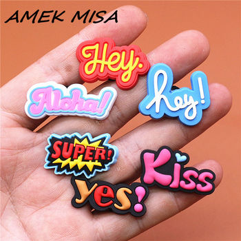 Crock Charms Accessories Custom Cartoon PVC Shoe Croc Buttons Sandals Charm Decoration Hey Super Yes Kiss Aloha Free Shipping image