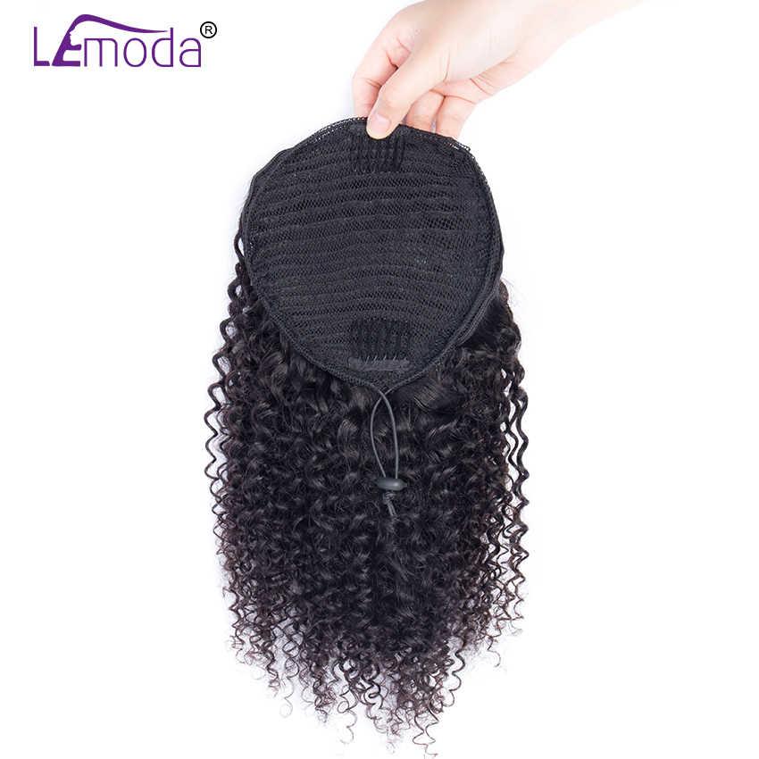 Perwersyjne kręcone kucyk ludzkie włosy brazylijski 8-30 Cal naturalny kolor Lemoda Remy sznurek kucyk włosy doczepiane clip in