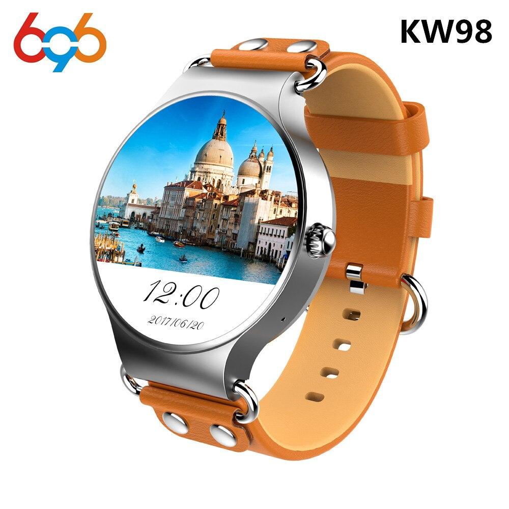 696 plus récent KW98 montre intelligente Android 5.1 3G WIFI GPS montre MTK6580 Smartwatch iOS Android pour Samsung Gear S3 Xiaomi PK KW88