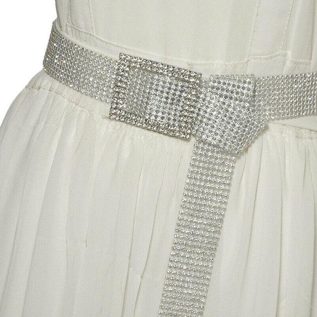 Ceinture en strass pour femmes | Large et mince, ceinture de mariée scintillante, en cristal, ceinture avec chaîne en diamant doré