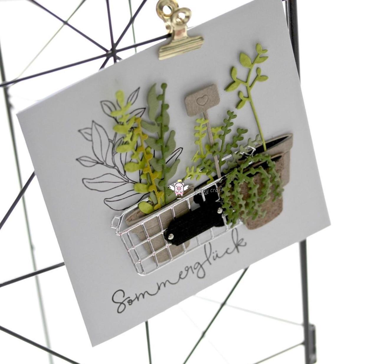 Image 2 - Piggy Craft metal cutting dies cut die mold Flower leaf pot basket Scrapbook paper craft knife mould blade punch stencils dies-in Cutting Dies from Home & Garden