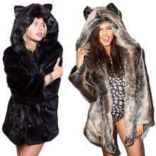 S-6XL New style imitation Faux Coat Wolf Ear fur coat long Hooded Overcoat female Winter Furry Coat