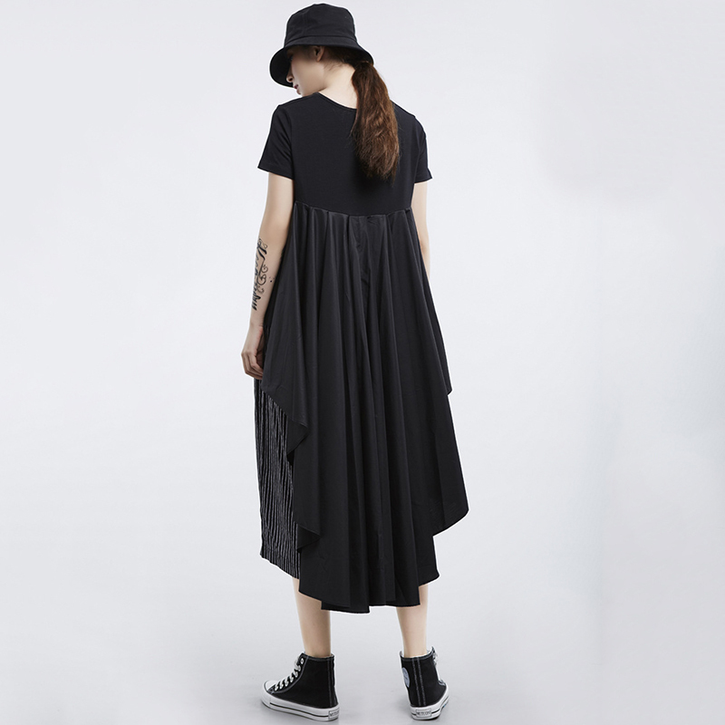 [EAM] 2020 New Spring Summer Round Neck Short Sleeve White Loose Pleated Irregular Hem T-shirt Women Fashion Tide JL867 6