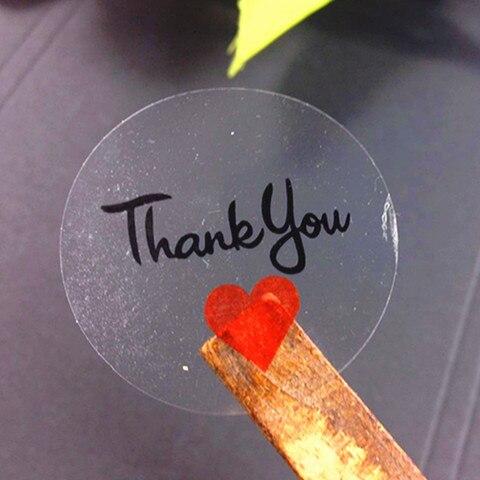 1000 pcs lote bonito transparente com coracao vermelho obrigado bolo embalagem de vedacao etiqueta diy