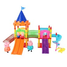 Peppa Pig toys pepa pig Family friends Toys Doll Real Scene Model Amusement park house PVC Action Figures new year pig toys