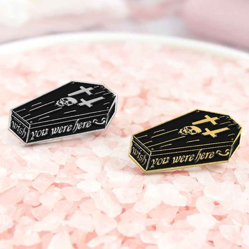 Hot Sale Punk Brooch Creative Icons Skull Coffin Fashion Style Backpack Bag Decoration Clothes Clothing Gifts Enamel Black Badge