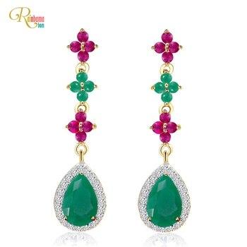 Rainbamabom 925 Solid Sterling Silver Emerald Gemstone Wedding Engagement Fine Jewelry Water Drop Vintage Drop Dangle Earrings