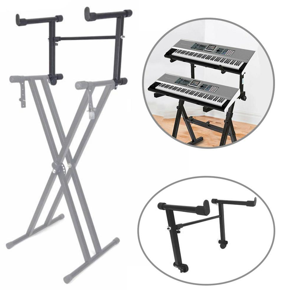 2-Tiers X Style Dual Keyboard Stand Adjustable Electronic Music Piano Holder Musical Keyboard Instrument Accessories Parts