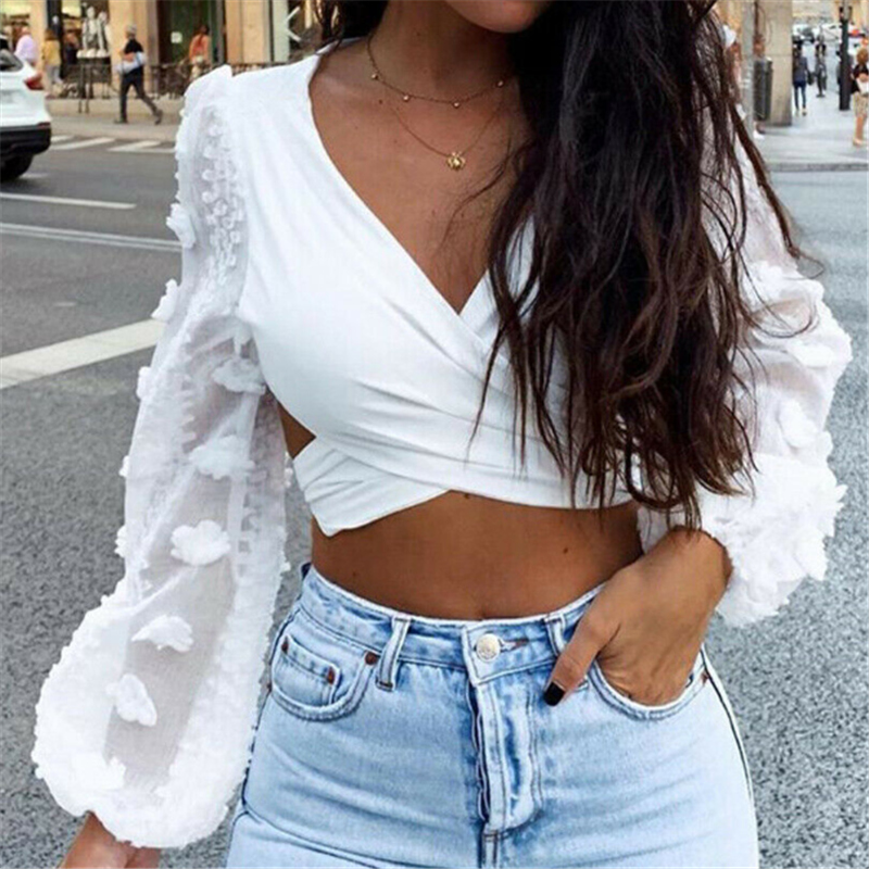 Elegant OL Women Shirts Celmia 2019 Fashion Long Lantern Sleeve Lace Blouses Sexy V Neck Backless Cross Crop Tops Casual Blusas
