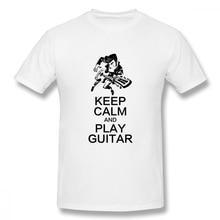 100% cotton Keep Calm And Play Guitar print casual mens o-neck t shirts fashion Mens Basic Short Sleeve T-Shirt