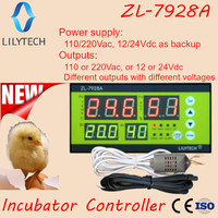 ZL-7928A  100/220Vac 12V Battery backup Dry outputs Multifunction Automatic Incubator  Incubator Controller   Lilytech ZL-7918A