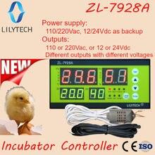 ZL-7928A, 100/220vac, reserva da bateria de 12v, saídas secas, incubadora automática multifunções, controlador de incubadora lilytech, ZL-7918A