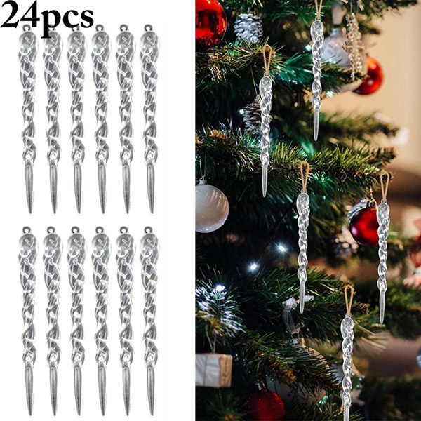 Hot 24Pcs Christmas Icicle Ornament DIY Party Hanging Xmas Tree Decor Supplies D6 13