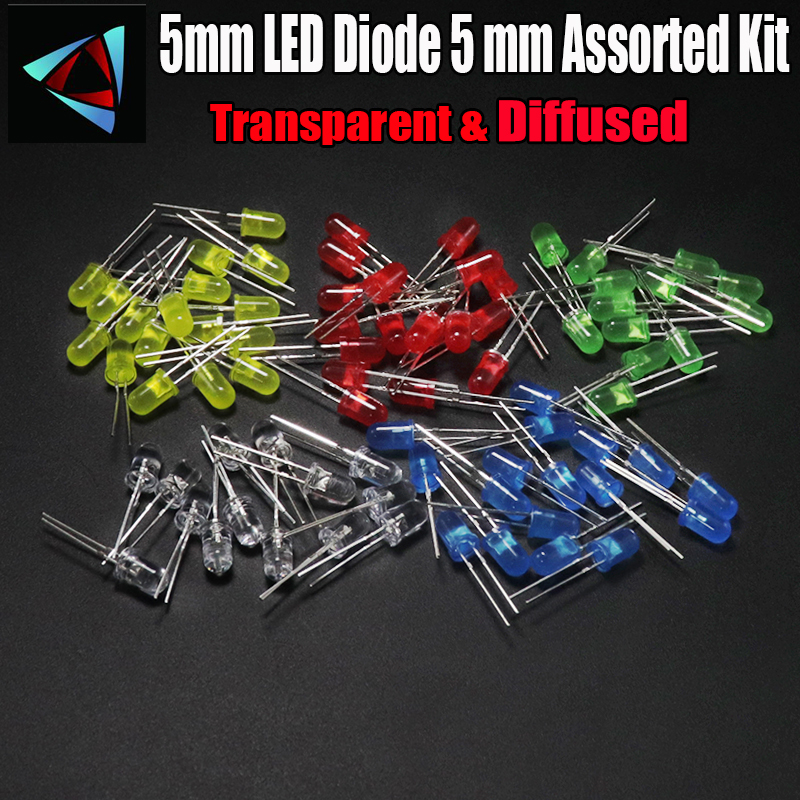 1000pcs <font><b>5mm</b></font> <font><b>LED</b></font> Diode 5 mm Assorted Kit White Green <font><b>Red</b></font> Blue Yellow Orange Pink Purple Warm white DIY Light Emitting Diode image