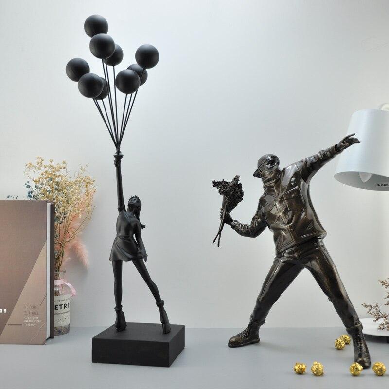Воздушные шары для девочек Статуэтка статуи банксы летающие воздушные шары девушка искусство Скульптура Смола ремесло украшение дома Рожд