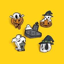 Brooch-Bag Halloween Badge Lapel-Pin Gift Skull Ghost for Friends Coffin Pumpkin Skeleton