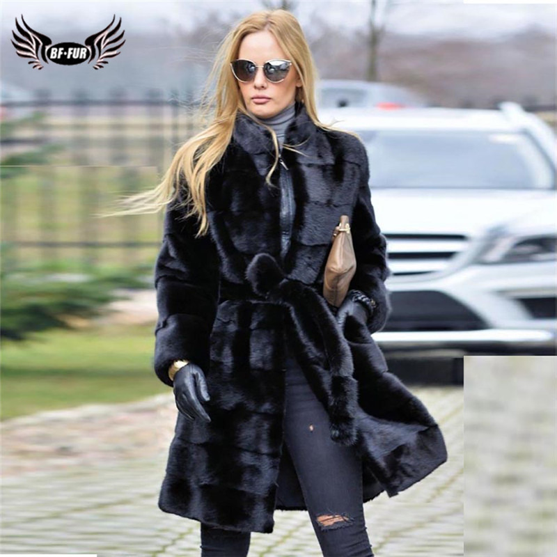 Luxury Mink Fur Coat Winter Women Thick Warm Genuine Mink Fur Jacket Stand Collar With Belt Full Pelt Fur Coats Woman Overcoat