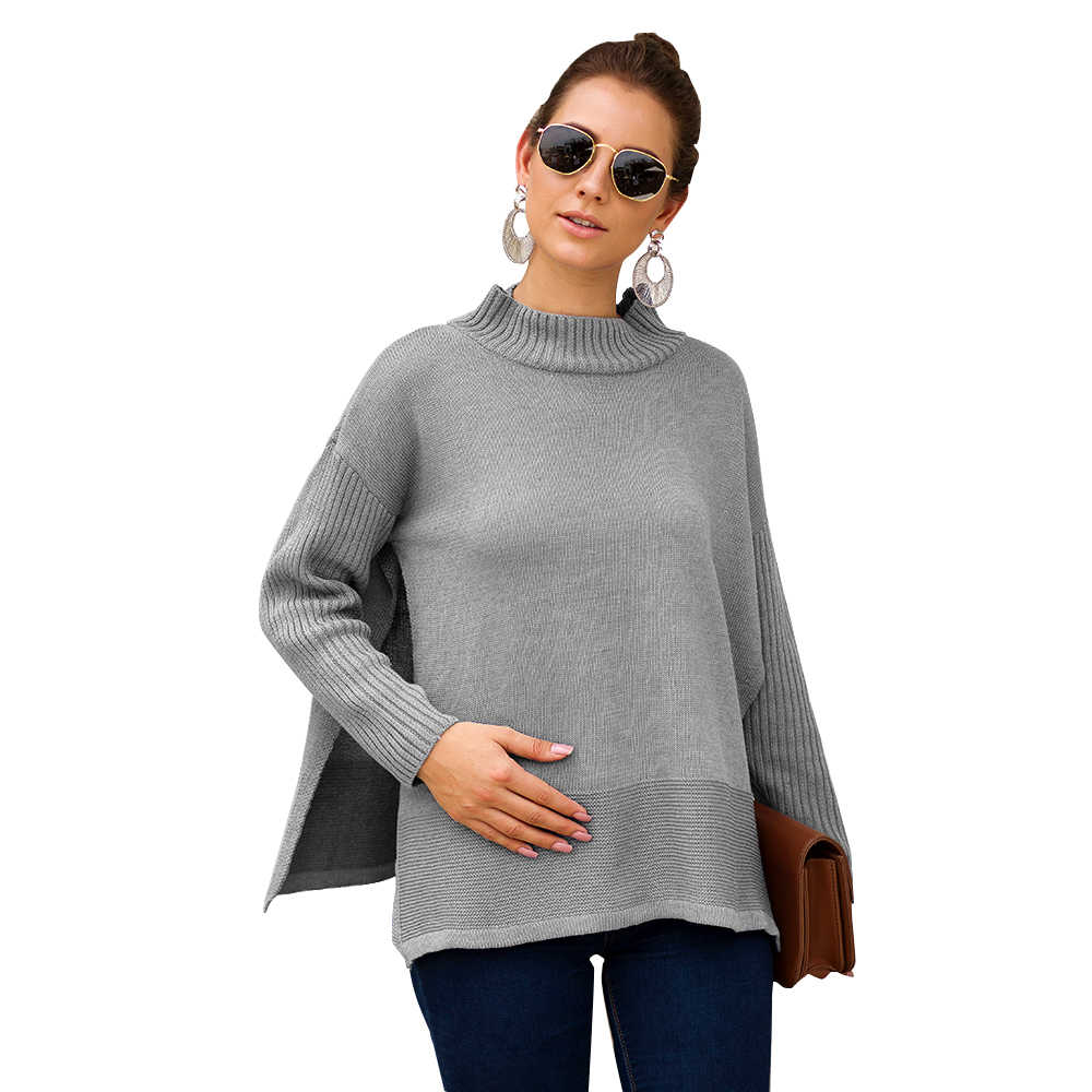 Maternity Sweater Women Clothes fashion 2019 Long Sleeve Split Pregnancy Sweater For Pregnant Women outerwear