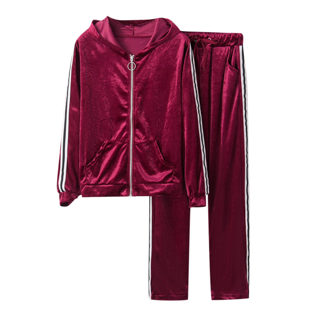 Women Set Tracksuits Pant Blouse Velvet Female Stripe Sportswear Hooded-Zipper Long-Sleeve title=