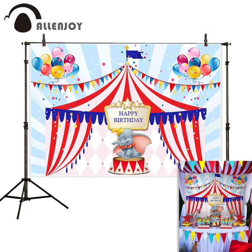 Allenjoy цирк праздничный занавес баннеры мультфильм Слон Красочные воздушные шары фоны с днем рождения принадлежности для фотосессии