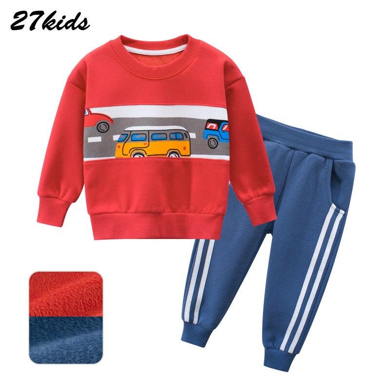 Boy Girl clothes Autumn and Winter Car Pattern Children's Sweater Set Children's Suit Baby Two-Piece Kids Leisure Sport Suit 3