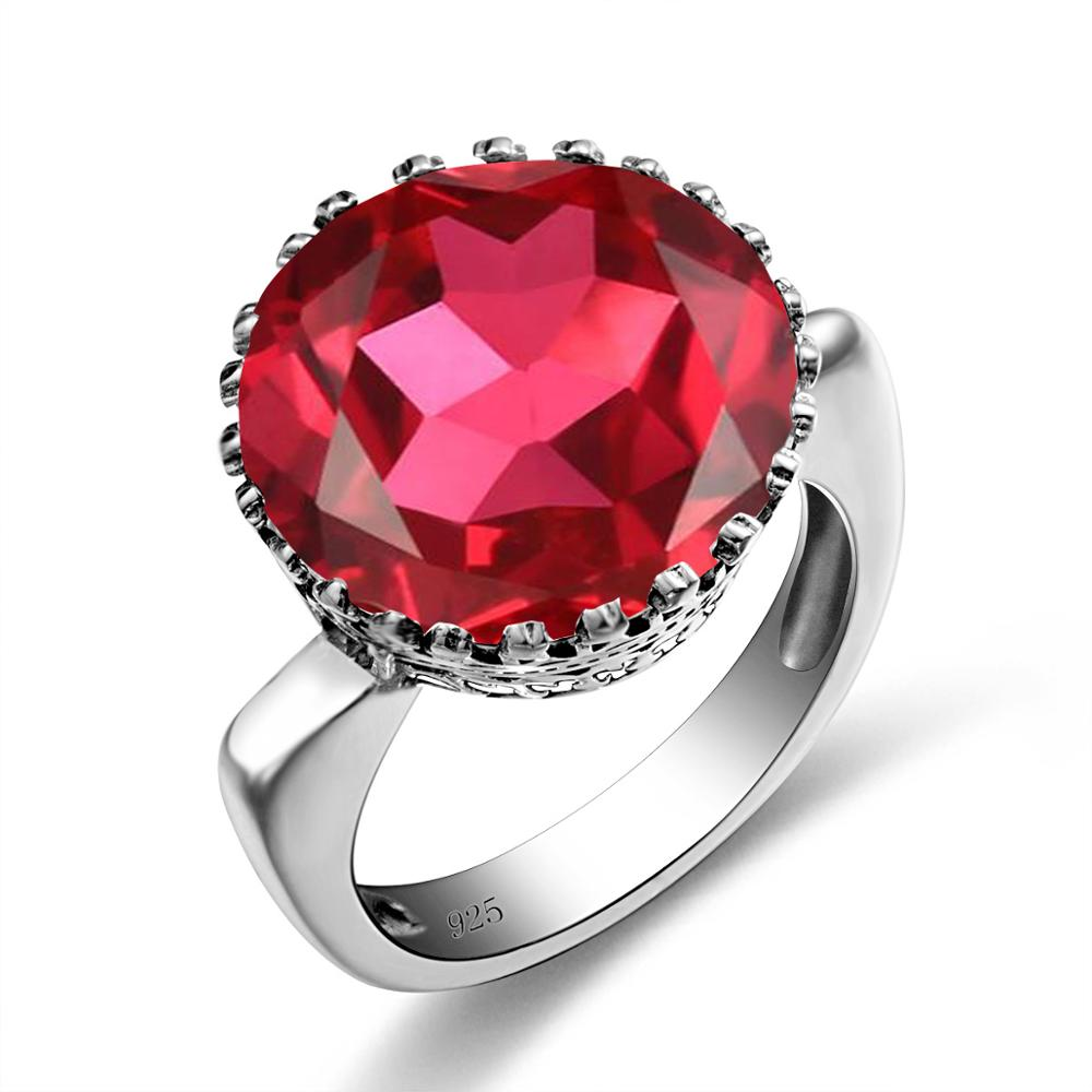 Szjinao Sterling Silver Ruby Rings Big Gemstone Rings For Women Round Shape Classic Engrave Handmade Female Jewelry Wedding Gift