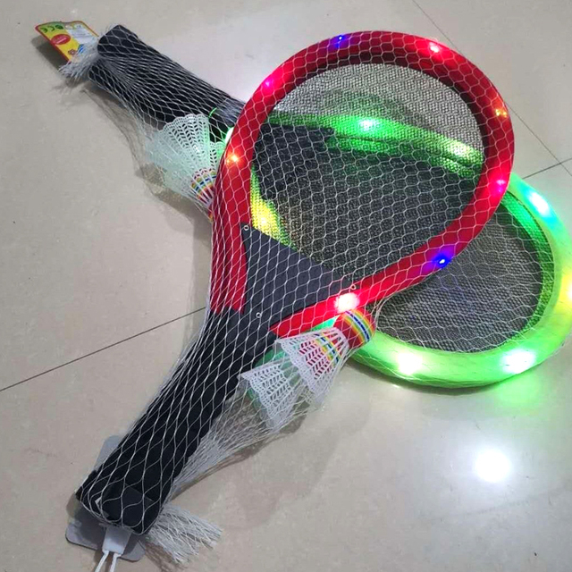 Family Entertainment Outdoor Night Light Training Durable LED Badminton Racket Sets Carbon Fibre Sports Fitness Equipment