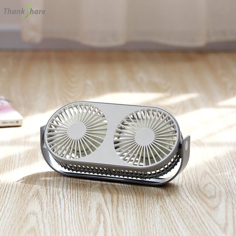 THANKSHARE Couple Fan Air Cooling Dual Motor Head Folding USB Fan 360Degree Rotation Adjustable Speed Portable Official Fan