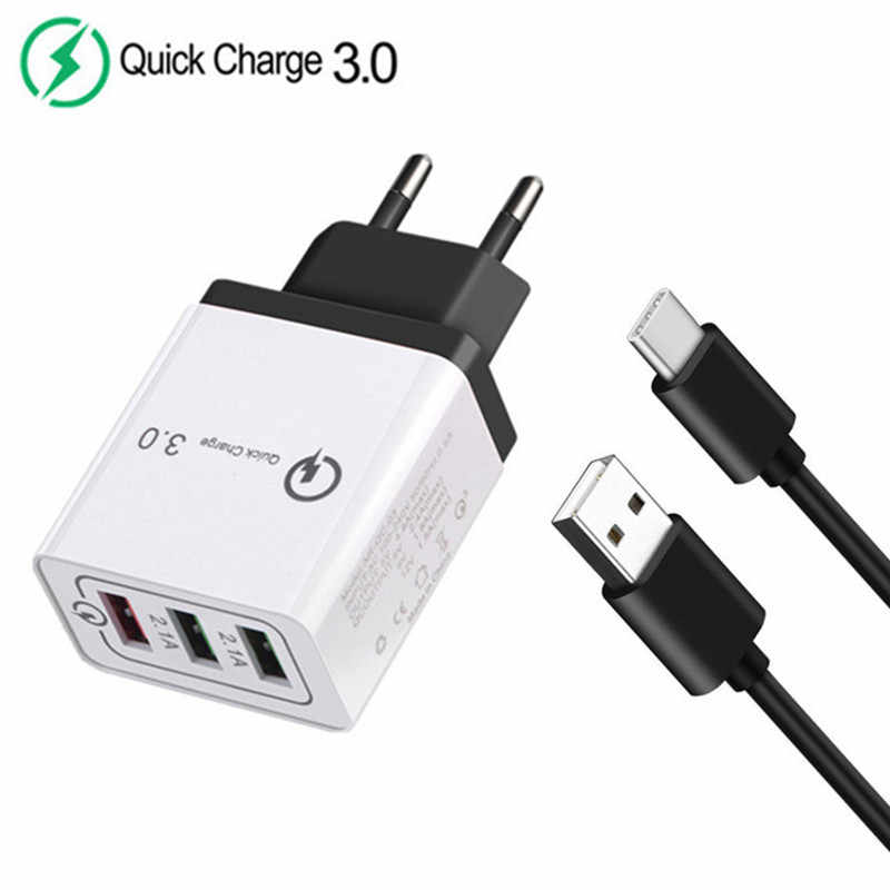 Voor HTC U11 LG G7 G6 Huawei P20 Lite P30 Pro Galaxy S9 S10 A20 9V 12V Quick lading QC 3.0 USB Adapter & Type C USB Charger Kabel