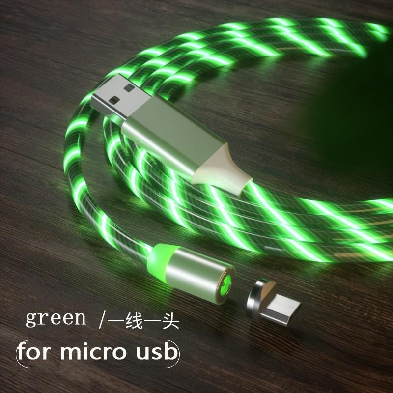 1 м Магнитный зарядный кабель для мобильного телефона, usb type C, светящийся провод для передачи данных для iphone Samaung huawei, светодиодный Micro Kable - Цвет: green for micro usb