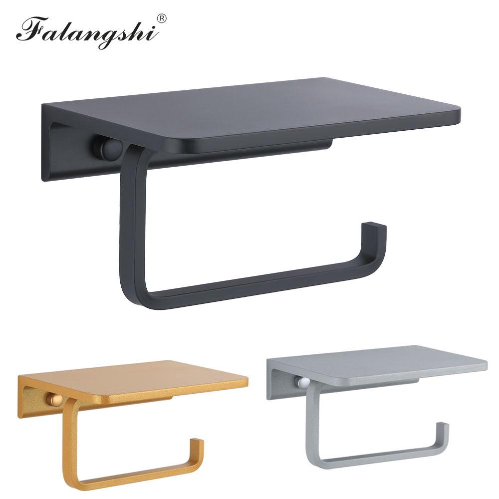 Алюминиевый держатель для туалетной бумаги Falangshi Space, черный, золотой, серебристый держатель для рулона туалетной бумаги для ванной комнаты ...
