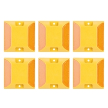 6 Pcs Road Marker Double Yellow Road Reflectors Reflective,Perfect For Marking Your Driveway Private Road Bike Paths