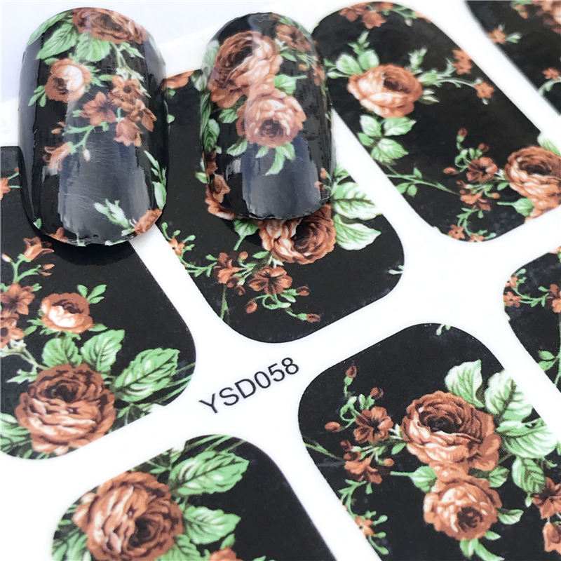 YZWLE 1 Sheet Black Rose Full Nail Water Decals Starry Sky Pattern Transfer Sticker Nail Art Stickers