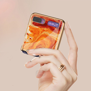 Image 5 - Étui en verre trempé en marbre pour Samsung Galaxy Z étui à rabat cadre de placage coque arrière rigide pour Samsung Galaxy Z rabat Capa de luxe
