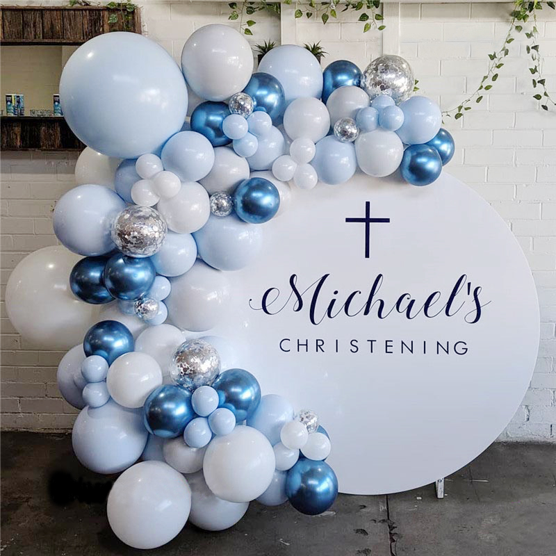 <font><b>100pcs</b></font> Pastel Macaron Blue White Balloons Garland Arch Kit Metallic Blue Balloons Wedding Birthday Baby Shower Party Decoration image