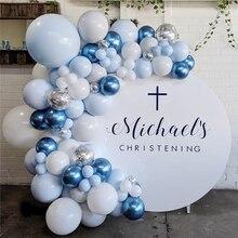100 adet Pastel Macaron mavi beyaz balonlar Garland Arch kiti metalik mavi balonlar düğün doğum günü bebek duş parti dekorasyon