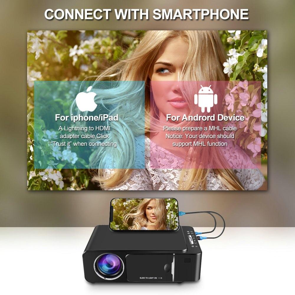 Projetor HD portátil VIVICINE 1280x720p, opção Android 10.0 HDMI USB 1080p Home Theater Projetor WIFI Mini Led Beamer