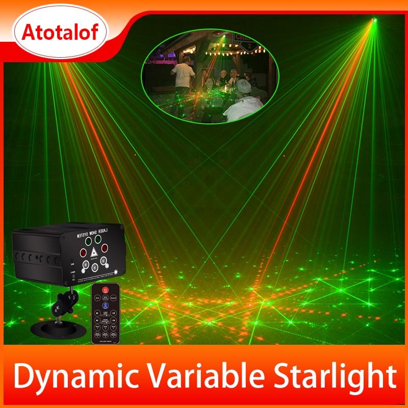 Atotalof RGB LED Disco Light Laser 128 Patterns Projector Remote Control In door Party Lighting KTV Wedding Stage Laser Lights