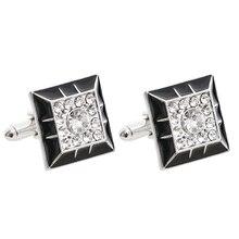 Fashion Luxury Crystal Cufflinks 2 Colors Option White Qurple Top Quality Rhinestone Design Hotsale Cufflink Retail