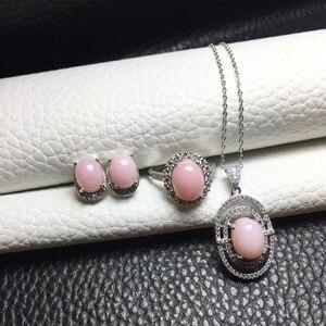 Image 5 - MeiBaPJ Natural Pink Opal kolczyki z kamieniami szlachetnymi pierścionek i naszyjnik 3 garnitur dla kobiet prawdziwe 925 srebro Fine Jewelry Set