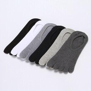 Image 2 - Носки мужские короткие хлопковые 10 пар, незаметные с закрытым носком, на пять пальцев, Нескользящие, короткие, с пятью носками