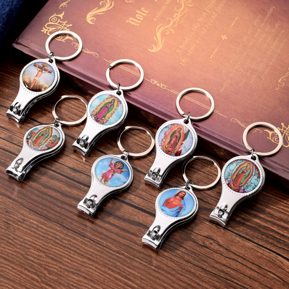 Vicney Religious Series Nail Clipper Key Chain Personality Zinc Alloy Keychain Fine Christian Jesus Beer Opener For Men Key Ring