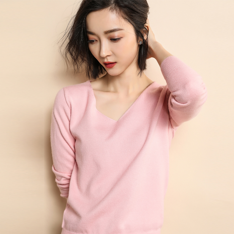 2019 new fashion women's pullover ladies V-neck cashmere wool knit solid color loose large size sweater