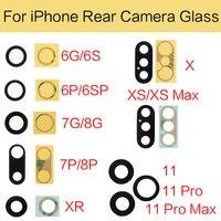 5 satz/los Zurück Kamera Objektiv Abdeckung Halter Für iPhone 6S 7 8 Plus X XR XS 11 Pro Max hinten Cam Glas Objektiv Mit 3M Aufkleber