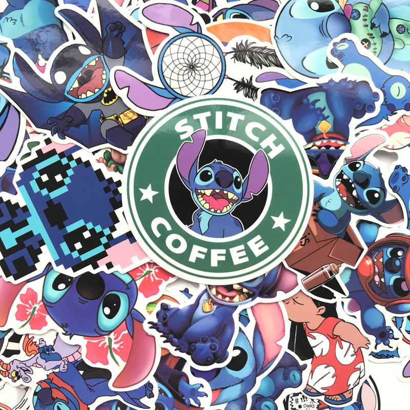 52Pcs/Set Classics Lilo Stitch Cute Cartoon Stickers Scrapbooking Stickers For Luggage Laptop Notebook Car Motorcycle Toy Phone(China)