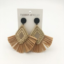 rattan Tassel Earrings  Lafite Earring Weave Dangle Handmade