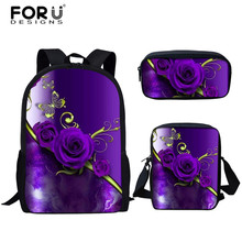 FORUDESIGNS 3pcs Set School Bags for Teen Girls Casual Gothic Flower Rose Printing Primary Students Schoolbags Book Shoulder Bag cheap Polyester zipper Backpack 0 4kg 800D polyester 44cm Animal Prints 13cm 28cm backpack for teenager girls zoo animal cat backpack
