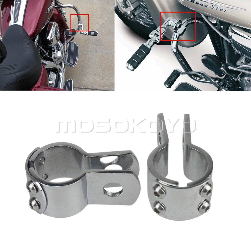 Chrome Motorcycle Footpegs Footrests For Honda Shadow Yamaha Road Star Suzuki