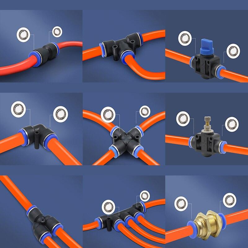4MM-12MM pnömatik uydurma tüp konektörü bağlantı parçaları hava hızlı su boru itme hortum hızlı bağlantı PY/PU/PV/PE/HVFF/LSA